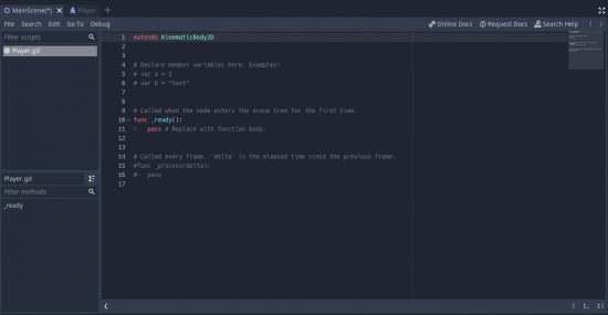 Godot script window for Player.gd file